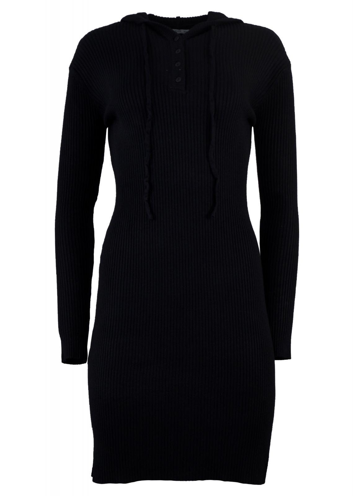 Γυναικείο φόρεμα ρίπ ελαστικό με κουκούλα. Casual Style. ΜΑΥΡΟ - gsecret -