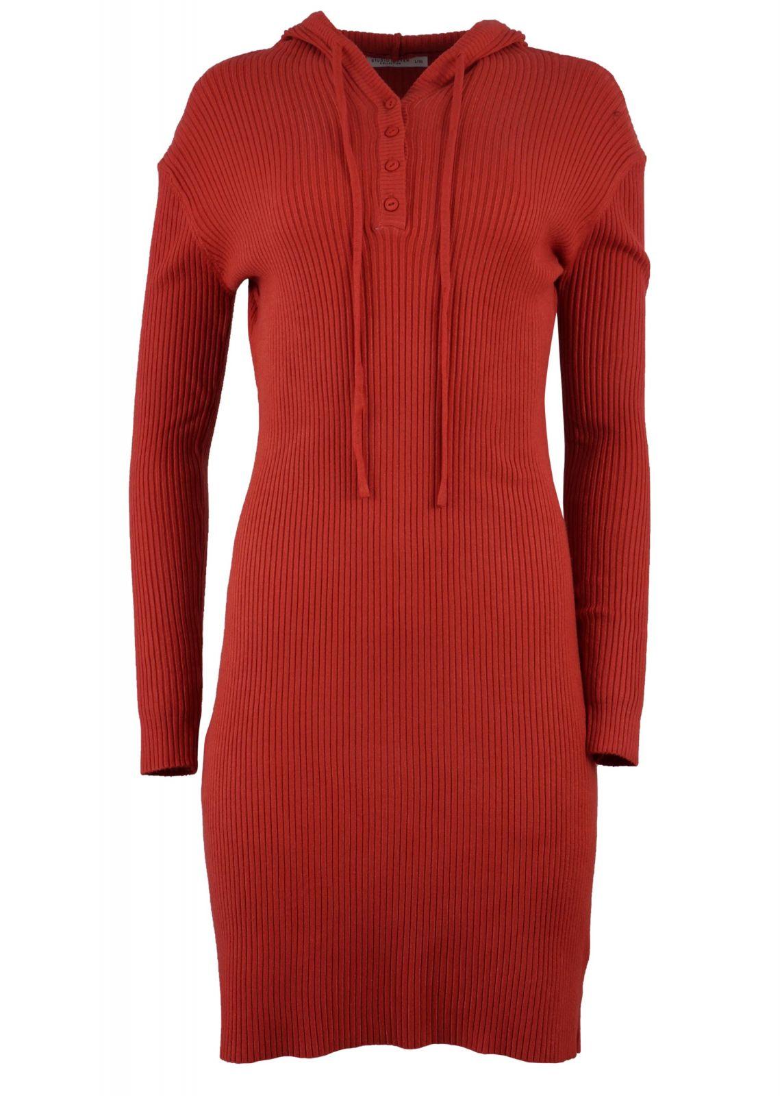 Γυναικείο φόρεμα ρίπ ελαστικό με κουκούλα. Casual Style. COPPER - gsecret -