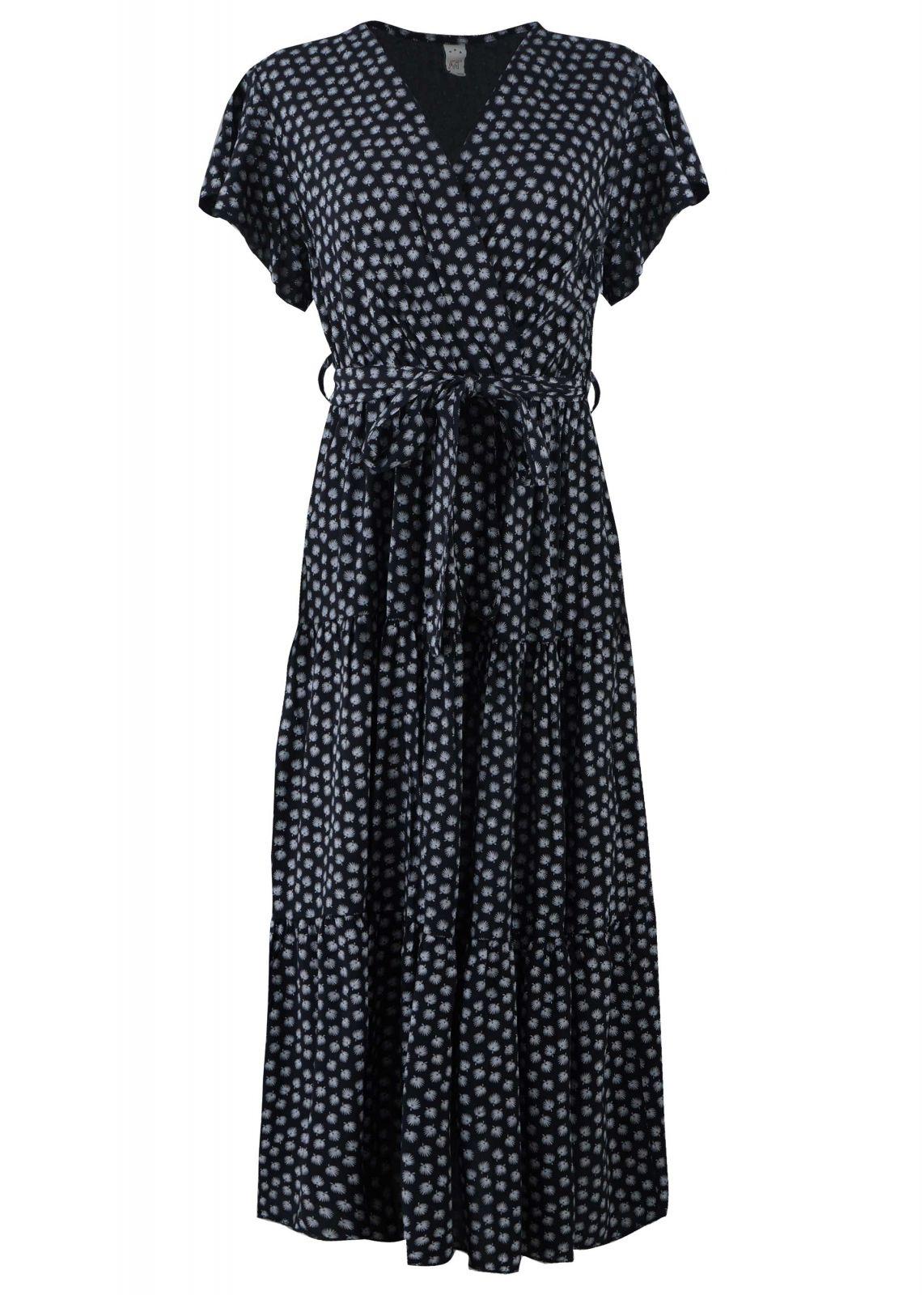 Γυναικείο φόρεμα κρουαζέ ζωνάκι all-print. ΜΑΥΡΟ