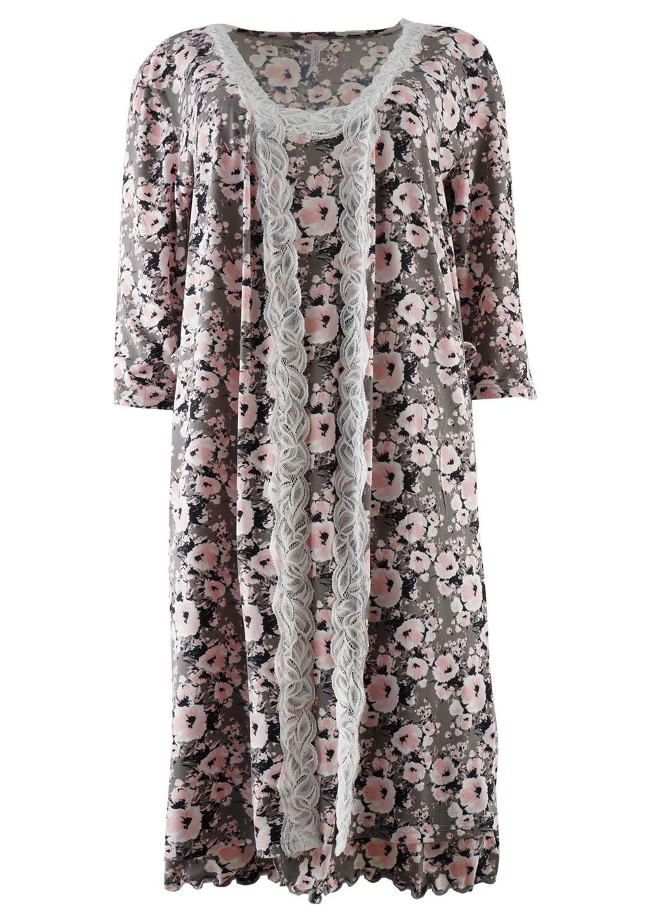 Γυναικείο set ρόμπα & νυχτικό floral print. Elegance style. ΓΚΡΙ