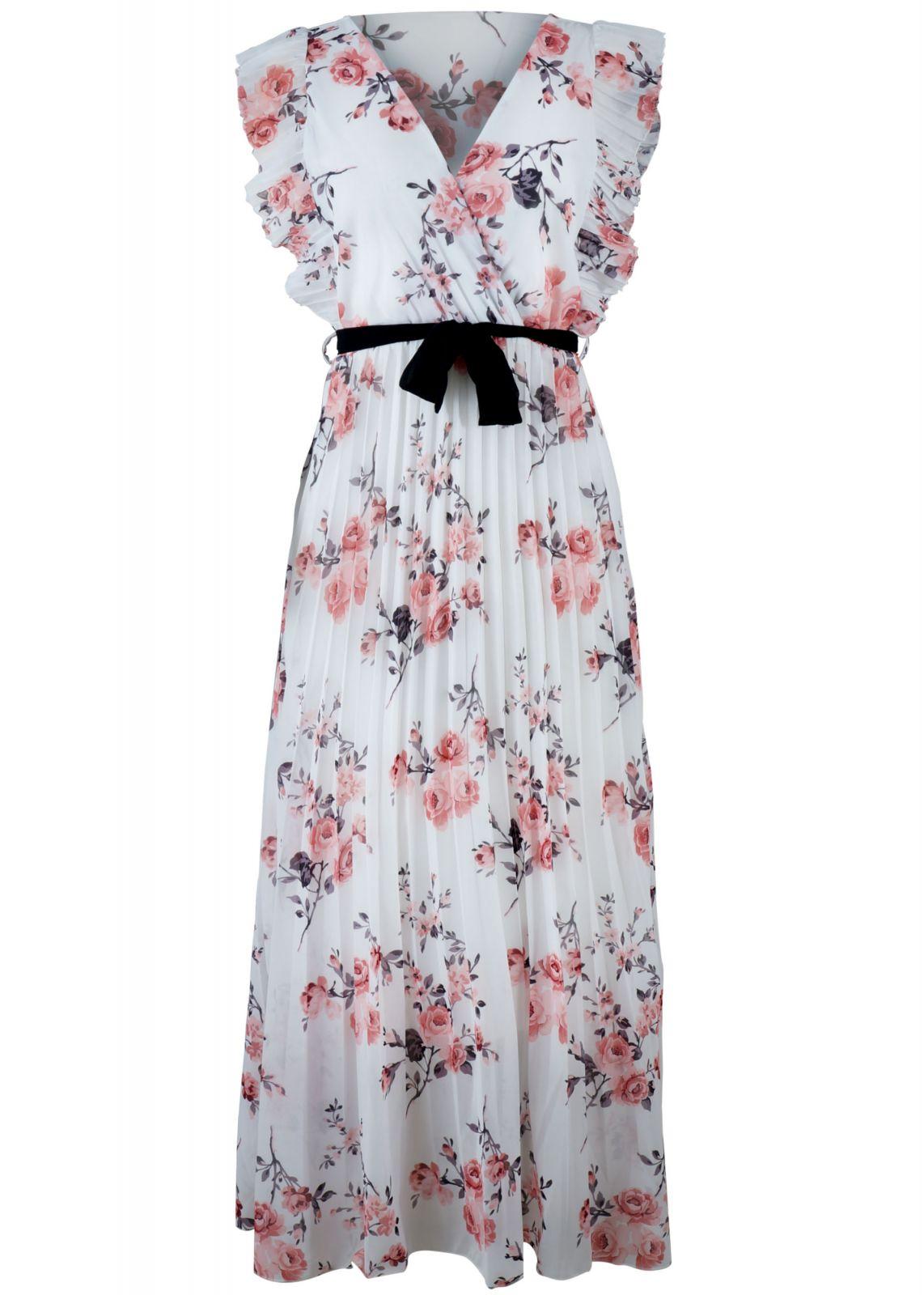 Γυναικείο maxi φόρεμα all print floral. ΛΕΥΚΟ