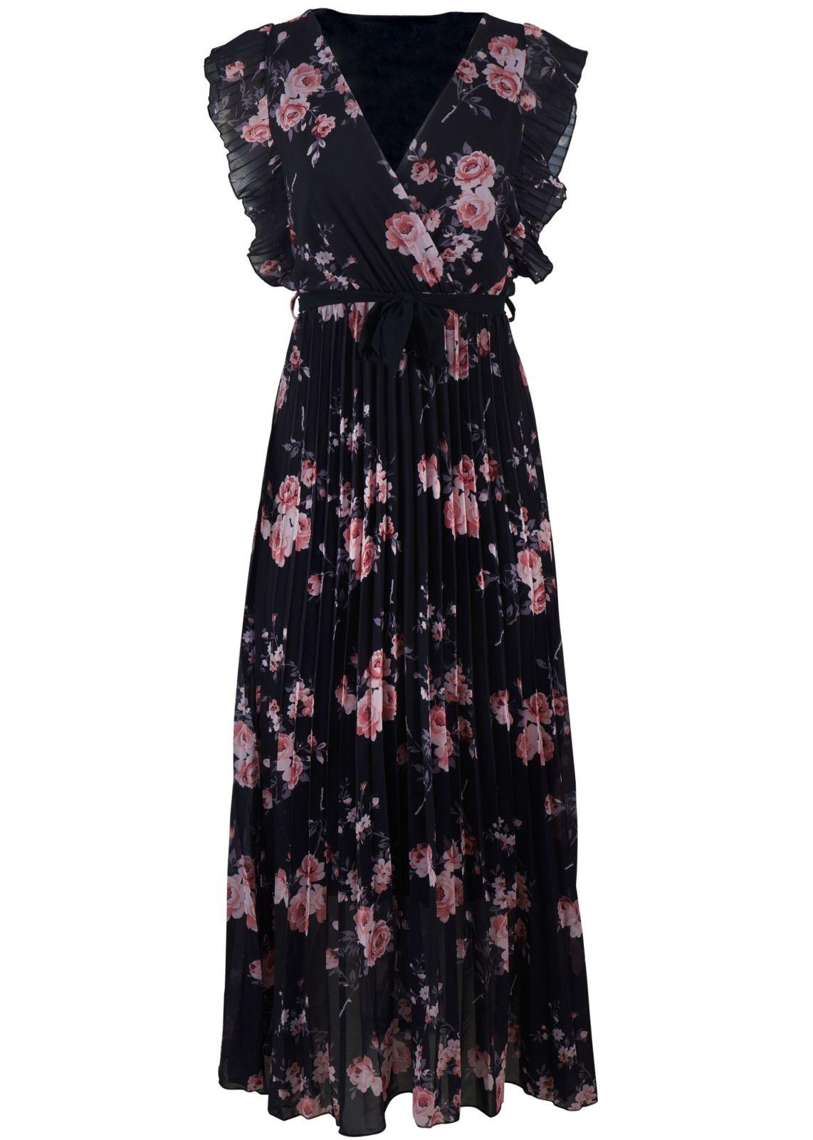 Γυναικείο maxi φόρεμα all print floral. ΜΑΥΡΟ