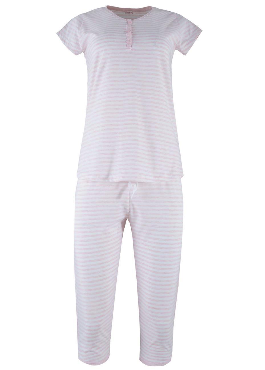 Γυναίκεια πυζάμα capri stripes print. Comfortable style. ΡΟΖ