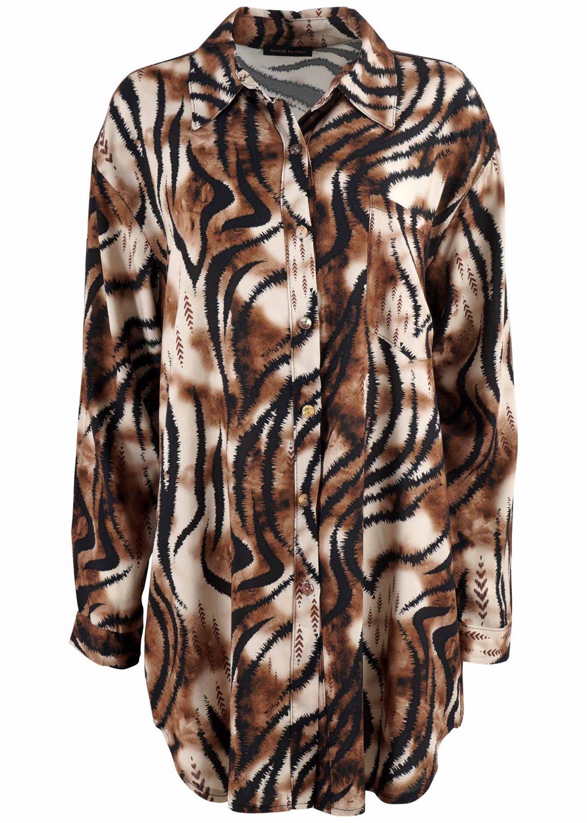 Γυναικεία πουκαμίσα animal print σε loose γραμμή. ΜΑΥΡΟ