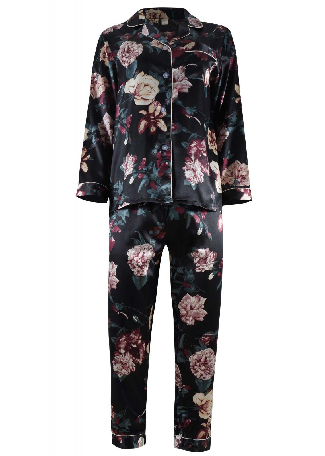Γυναικεία saten πιτζάμα με κουμπιά floral print ΜΑΥΡΟ