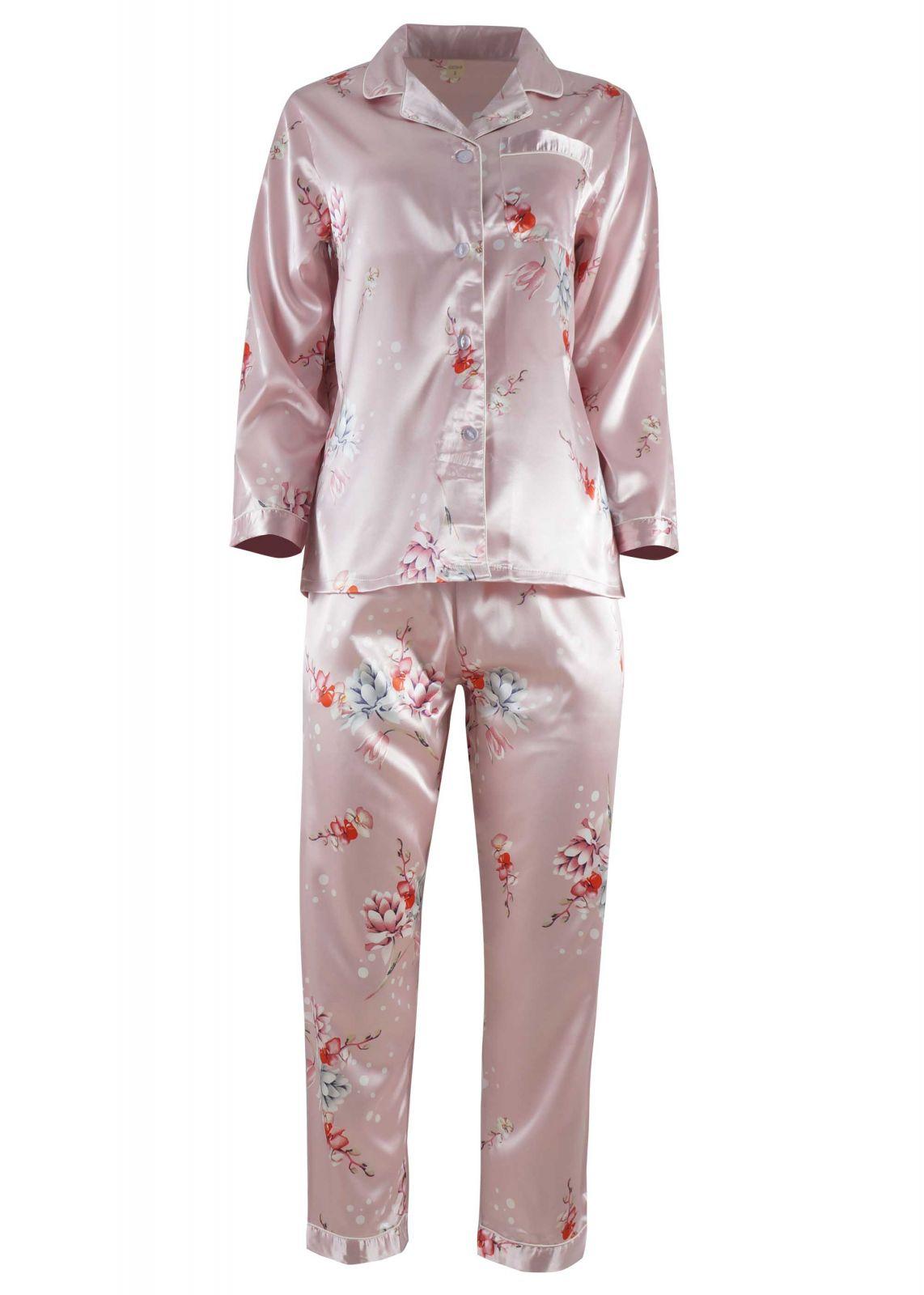 Γυναικεία saten πιτζάμα με κουμπιά floral print ΡΟΖ