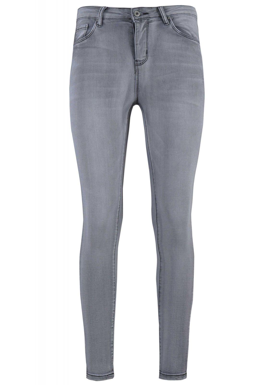 Γυναικείο παντελόνι jean skinny ελαστικό. Denim Collection ΓΚΡΙ