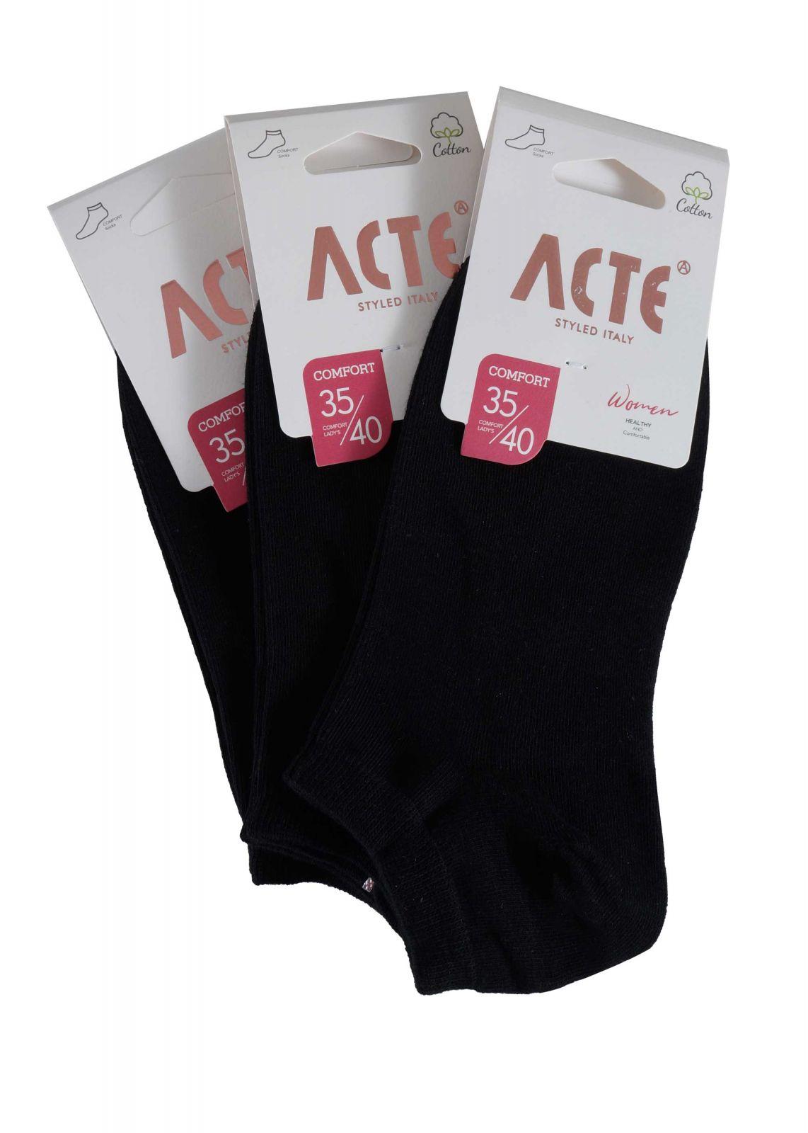 Γυναικείες κάλτσες αστραγάλου συσκευασία 3pack. Basic Collection ΜΑΥΡΟ