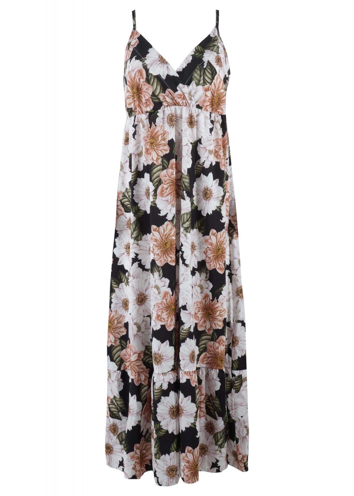 Γυναικείο maxi κρουαζέ φόρεμα all print floral FLORAL