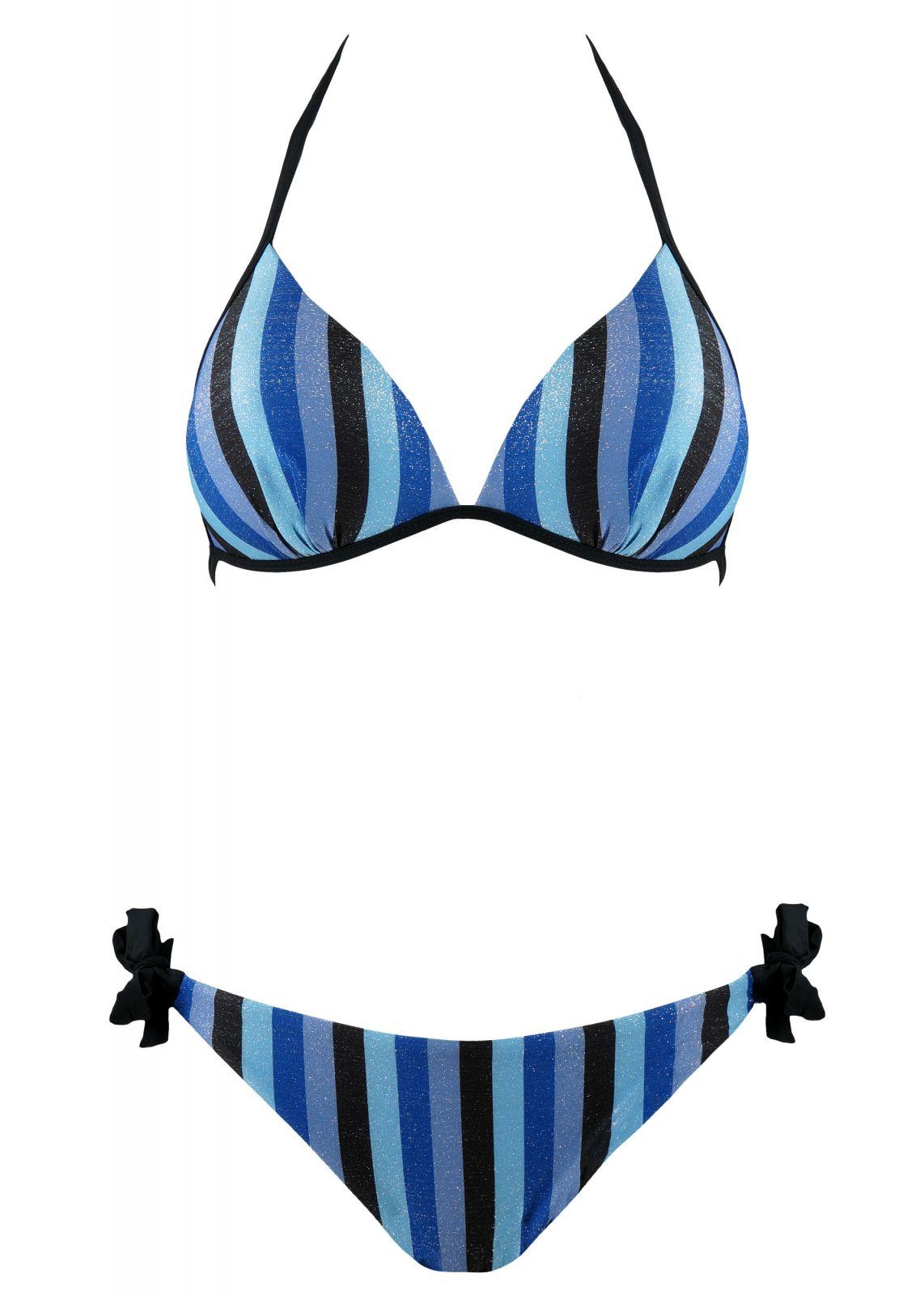 Γυναικείο set bikini bra push-up με ρίγες και slip με δέσιμο. Καλύπτει C Cup. ΜΠΛΕ