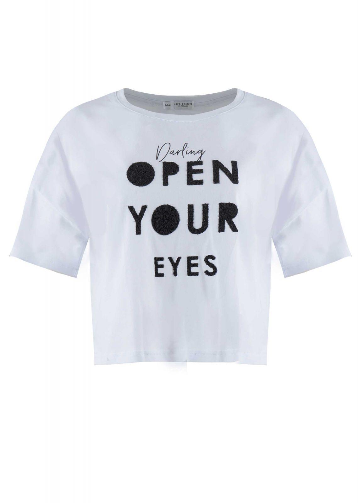 Γυναικείο tshirt crop-top στάμπα open. Casual Style ΛΕΥΚΟ