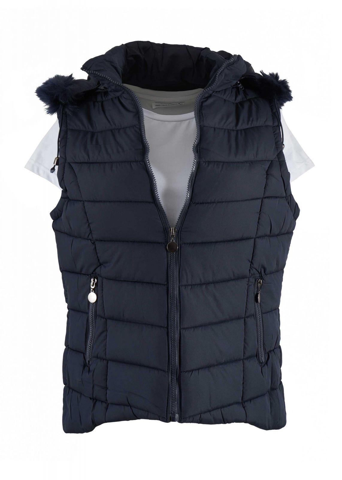 Γυναικείο jacket αμάνικο με κουκούλα. Basic collection ΜΠΛΕ