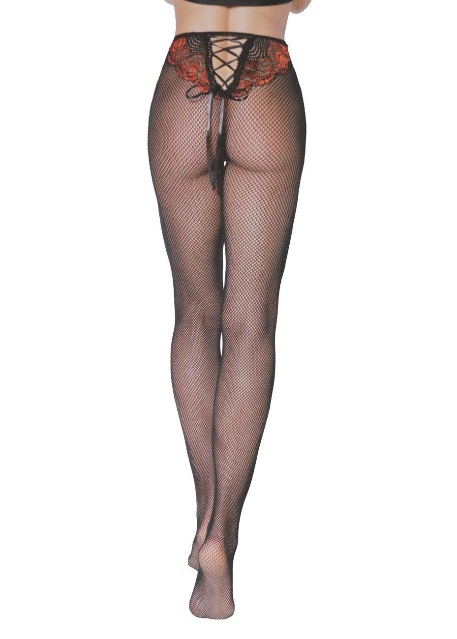 Γυναικείο καλσόν δίχτυ σχέδιο πίσω. Sexy collection ΜΑΥΡΟ